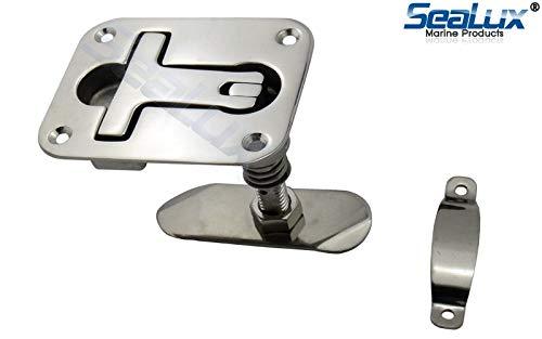 SeaLux Heavy Duty Marine Grade 316 Stainless Steel Compression Rectangular Flush Mount Hatch Lift Handle (Flange: 3-7/8