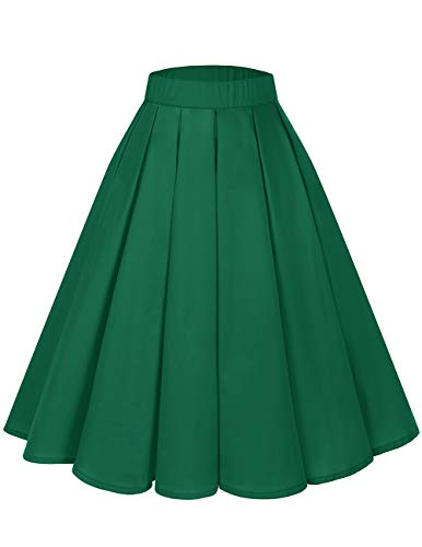 Bridesmay Women's Vintage Pleated Floral Printed A-line Swing Skirt with Pockets Green 2XL
