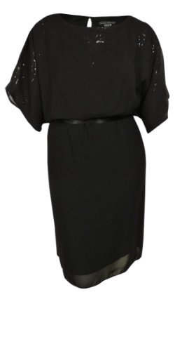 Embellished Blouson (Jessica Howard Women's Belted Sheer Embellished Neck Blouson Dress (18W, Black))