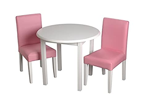 Gift Mark Children's Round Table with 2 Pink Upholstered Chairs, White