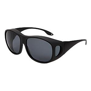 Solarfun Polarized Fit Over Glasses Sunglasses Wrap Around Solar Reduce Shield for Men and Women's Driving,Black