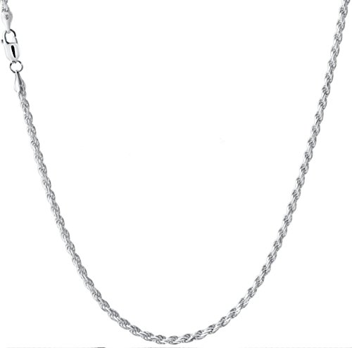 925 Sterling Silver Italian 2MM Diamond Cut Rope Chain Sturdy Necklace Strong - Lobster Claw Clasp - Extra Free Gift (20.00, Thickness:2MM)
