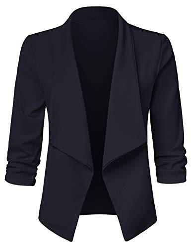 JSCEND Women's Casual Stretch 3/4 Sleeve Open Front Blazer Cardigan Jacket A-Navy 3XL (Extra Wide Drapes Discount)