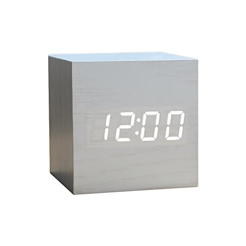Wood Alarm Clock Digital Led Light Minimalist Mini Cube With Date And Temperature For Travel Kids Bedroom White