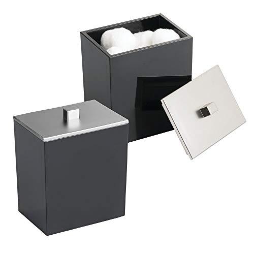 mDesign Modern Square Bathroom Vanity Countertop Storage Organizer Canister Jar for Cotton Swabs, Rounds, Balls, Makeup Sponges, Bath Salts - 2 Pack - Black/Brushed