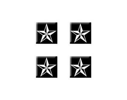 White Nautical Star (Nautical Star White Black - Set of 4 Badge Stickers)