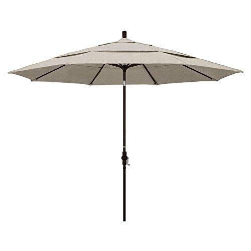 - California Umbrella 11' Round Aluminum Market Umbrella, Crank Lift, Collar Tilt