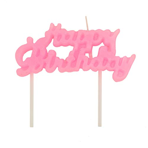 JETEHO 2pcs Happy Birthday Candles Birthday Letter Cake Candles Cake Toppers Party Decorations (Pink) -