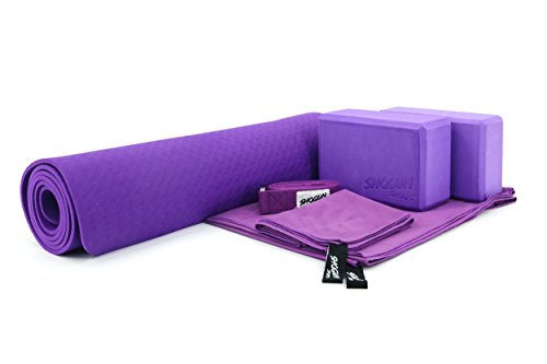 Shogun Sports Yoga Starter Kit (6 pcs set) Yoga Beginners Set. Includes TPE 6mm Durable Yoga Mat, 2 Yoga Blocks, 8 Ft Yoga Strap, 1 Large Microfiber Towel, 1 Hand Microfiber Towel