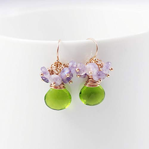 - Green Quartz and Purple Moonstone Rose Gold Dangle Earrings