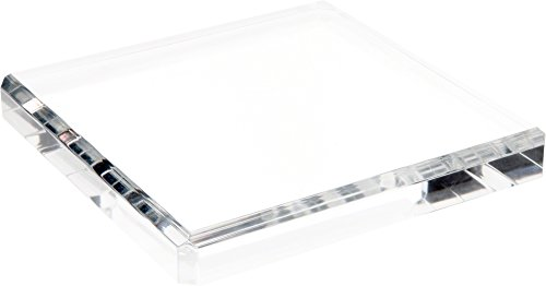 Plymor Clear Polished Acrylic Square Beveled Display Base, 1 H x 8 W x 8 D