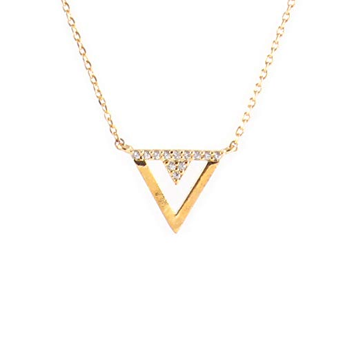 (Future Dreams Courage Double Inverted Triangle Necklace (Yellow Gold))