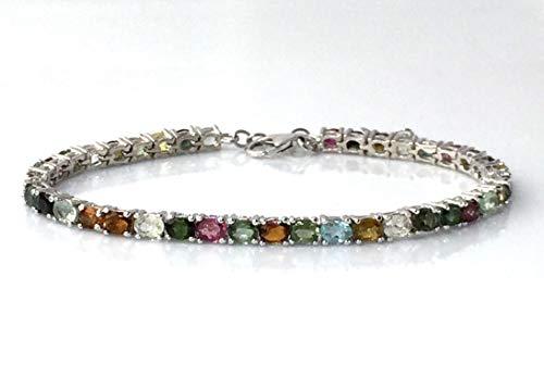 Gold Bracelets Tennis Gemstone (Natural Fancy TOURMALINE (39 Gemstones), 14k White GOLD and 925 Sterling Silver, Elegant (8.25