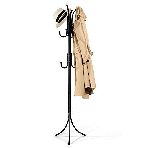 - Cozzine Coat Rack Coat Tree Hat Hanger Holder 11 Hooks for Jacket Umbrella Tree Stand with Base Metal (Black)