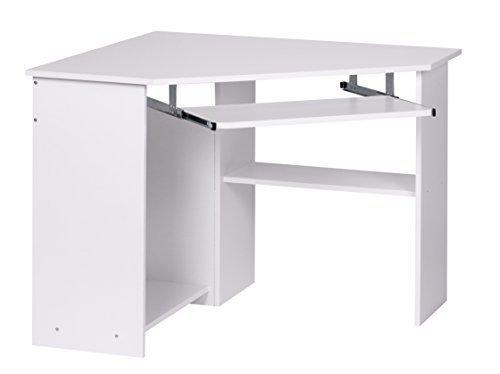 1PLUS Eckschreibtisch Computertisch Weiss mit Tastaturauszug