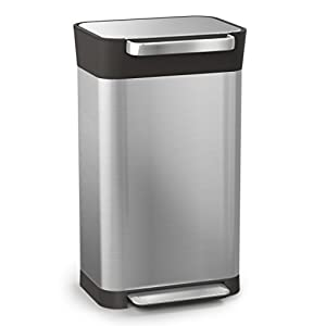 Joseph Joseph 30030 Intelligent Waste Titan Trash Can Compactor, 8 gallon/30 liter, Stainless Steel