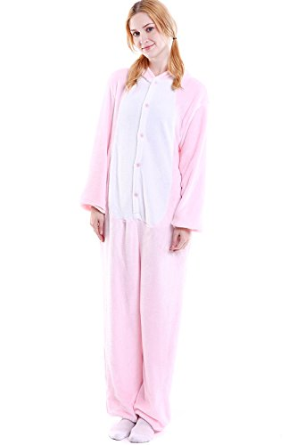 WOERKAZLD Unisex Adult Animals Pajamas - Plush One Piece Cosplay Animal Costume Set (L(Heigh:171-180cm/66-70in), Pink Pig)]()