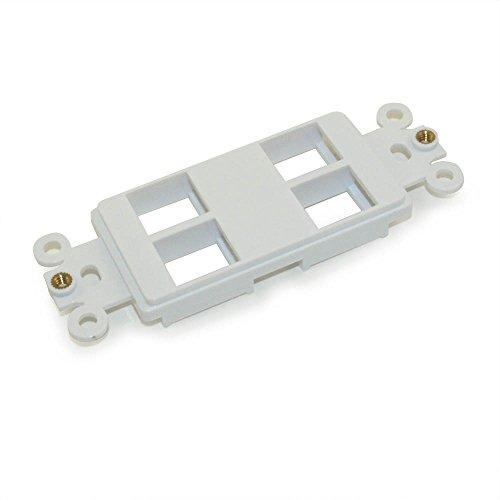 MyCableMart Wall plate: 4 Open Keystone Decora Plate Insert, White