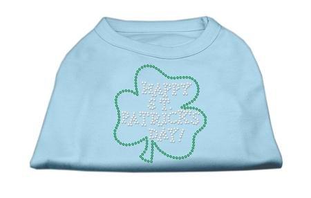 Mirage Pet Products Happy St. Patrick's Day Rhinestone Pet Shirt, Medium, Baby Blue
