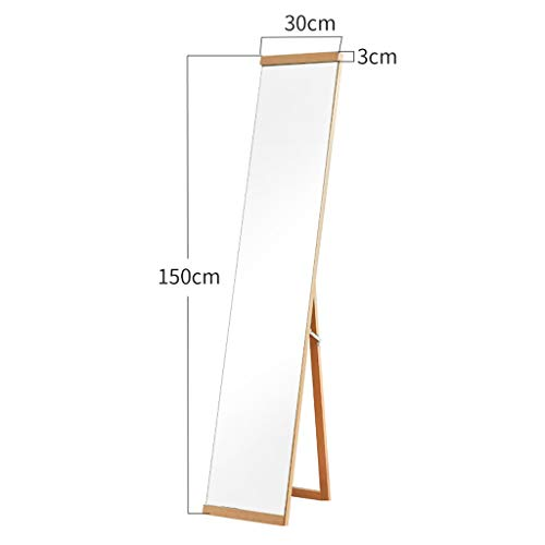 FLOOR MIRROR Solid Wood Full-Length Home Nordic Wall-Mounted Clothes Mirror Dressing Store with Bracket Mirror 0611A (Color : Wood Color)