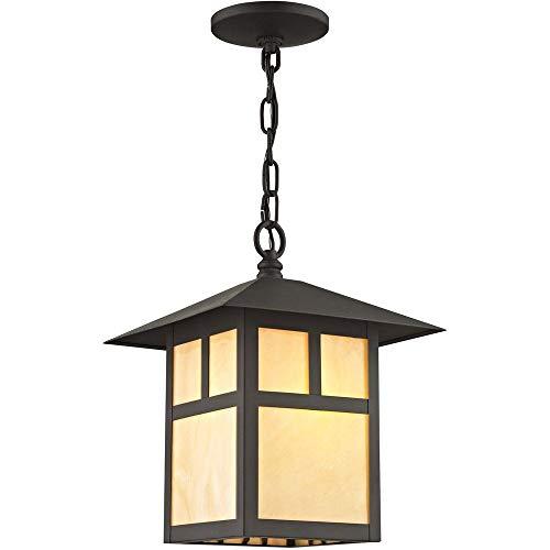 - Livex Lighting 2141-07 Montclair Mission 1 Light Outdoor Bronze Finish Solid Brass Hanging Lantern with Iridescent Tiffany Glass