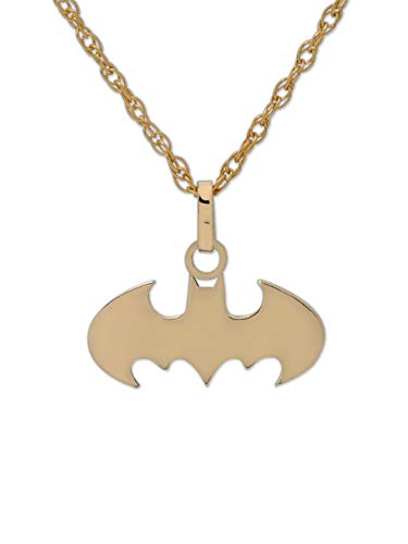 DC Comics 10KT Gold Batman Logo Justice League Pendant Necklace, 18