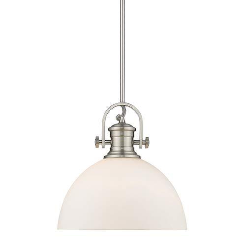 Golden Lighting 3118-L PW-OP One Light Pendant Silver