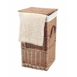 Small Natural Wicker Laundry Basket With Hinged Lid