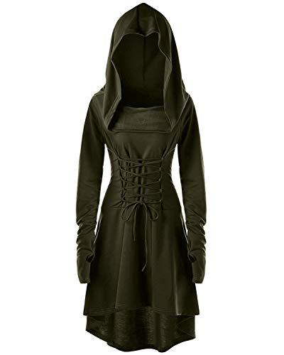 KENANCY Womens LongSleeve High Low Hem Lace Up Hoodie Dress Casual Vintage Pullover Solid Army Green ()