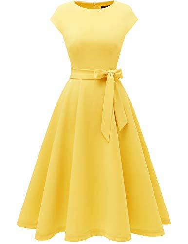 DRESSTELLS Women's Vintage Tea Dress Prom Swing Cocktail Party Dress with Cap-Sleeves Yellow XL
