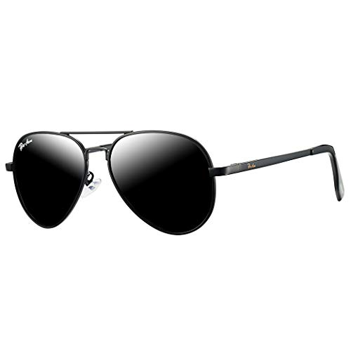 Pro Acme Small Polarized Aviator Sunglasses for Kids and Youth Age 5-18 (Black Frame/Black Lens)