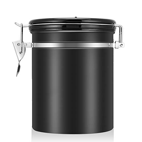 Coffee Container Airtight for Ground or Whole Beans Stainless Steel Vacuum Sealed Black Kitchen Storage Canister (16oz)
