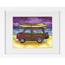 Surf Buggy Woody Wagon - Surf Boarding Beach Surfing Framed Art Print