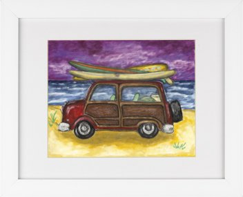 Surf Buggy (Surf Buggy Woody Wagon - Surf Boarding Beach Surfing Framed Art Print)