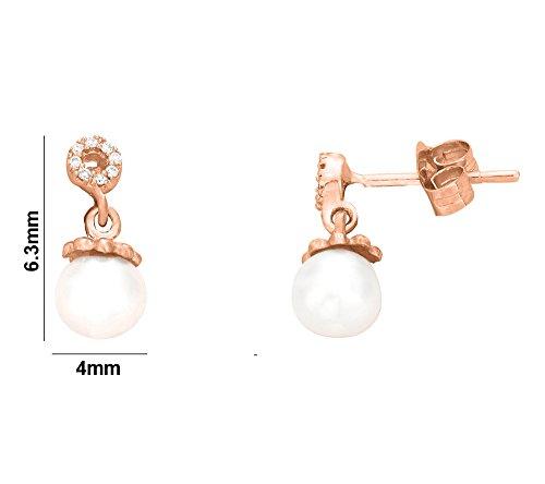 Libertini Boucle d'oreille argent 925 plaque or Rose serti de Diamant et Perle en fArgentme de Rond