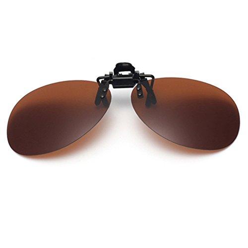 Tacloft Unisex Retro Aviator 63mm Polarized Clip-on Flip up Sunglasses Driving Traveling CLIPON2012 - On Sunglasses Clip Aviator