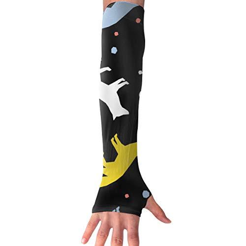 MASDUIH Abstract Fox Gloves Anti-uv Sun Protection Long Fingerless Arm Cooling Sleeve
