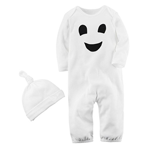 Goodtrade8 Clearance Newborn Baby Girl Boy Romper Clothes Winter First Halloween-Costumes Jumpsuit Outfit Gifts Hat (18-24 Months, White)