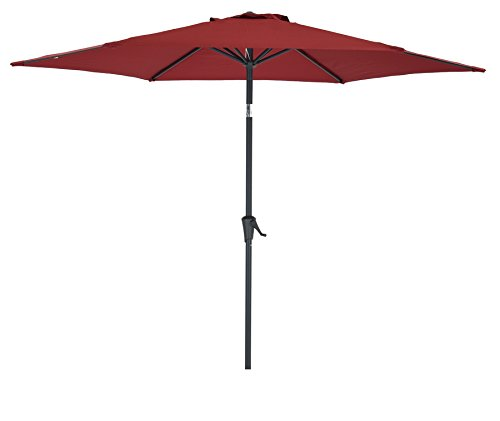 Base Market 9 Umbrella (Patio Umbrella 9 Feet Red, Market Outdoor Waterproof Table Umbrella by SHORFUNE with Push Button Tilt and Crank, Great for Patio, Backyard, Garden, Pool Side)