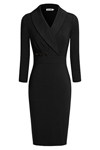 Ninedaily Women Lapel Neck Button 3/4 Sleeve Wear to Work Pencil Dress Black - Pencil Lightweight Skirt Wool