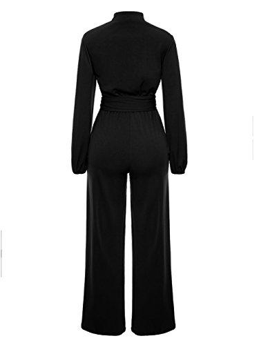 Corala Women Long Sleeve Solid Button Wide Leg Long Jumpsuits Romper Pants With Belt