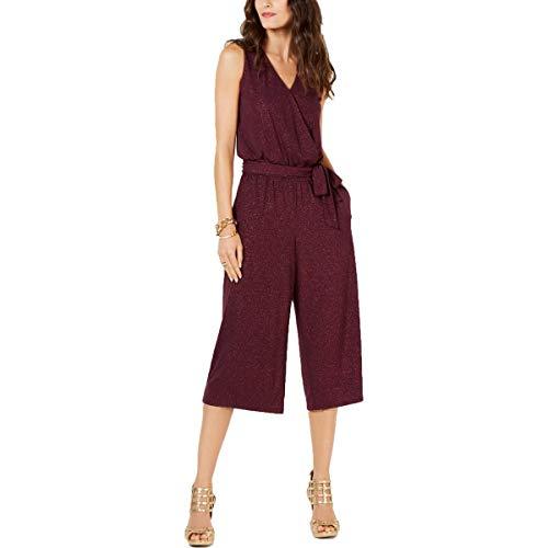 MICHAEL Michael Kors Womens Petites Faux Wrap Glitter Jumpsuit Purple PM