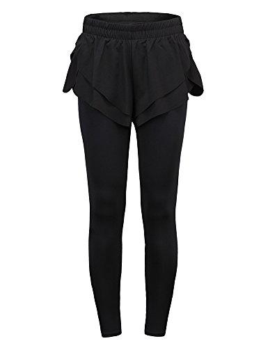 Unbekannt Erica Damen-Sport-Gymnastik-Yoga-Trainings-mittlere Taillen-laufende Hosen-Einteilige Eignung-elastische Gamaschen
