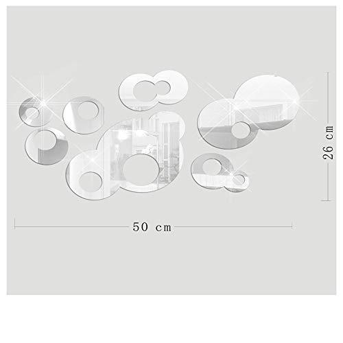 YaGoe606 7Pcs 3D Mirror Ring Acrylic Wall Sticker Vinyl Removable Wallapaer Home Decor Art DIY (Silver) (Silver Circle Spiegel)