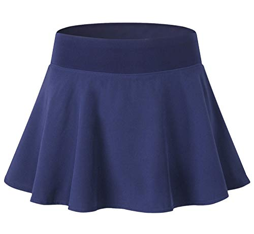 - Tailloday Women's Sports Pleated Elastic Quick-Drying Yoga Tennis Skirt with Panty(Navy,2XL)