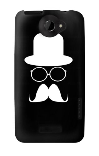 S1959 Mustache Glasses and Hat Case Cover For HTC ONE X