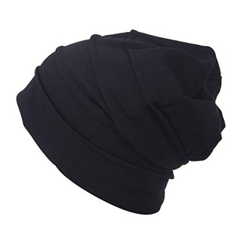COMVIP Hombres Rayas de punto holgado Slouchy sueño cráneo de la gorrita tejida Negro # 24