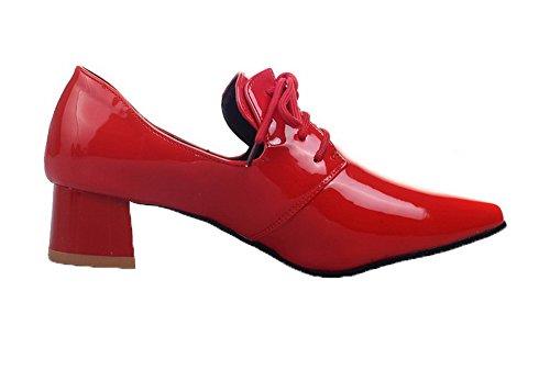 AgooLar Damen Blend-Materialien Schnüren Schließen Zehe Niedriger Absatz Pumps Schuhe Rot