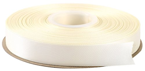 Duoqu 1/2 inch Wide Double Face Solid Satin Ribbon 50 Yards Roll Multiple Colors (Ivory)