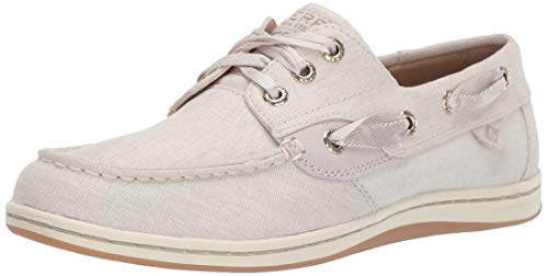 SPERRY Women's Songfish Linen Boat Shoe, Ivory, 080 M US